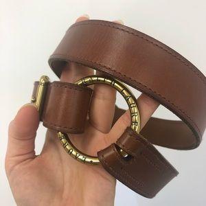 Ralph Lauren Brown Leather Circle Buckle Belt Sz L